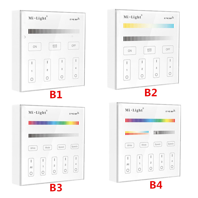 2019 New Style Mi Light 4-zone Smart Touch Panel Controller Brightness Dimming B1 B2 B3 B4 Dim /rgbw/rgb + Cct For Led Strip/panel Light /bulbs