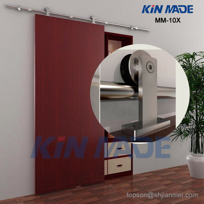 KIN MADE MM10X Free Shipping+6.6ft Top Mounted Wooden Sliding Barn Door Full Set Hardware Kit(satin Finish)