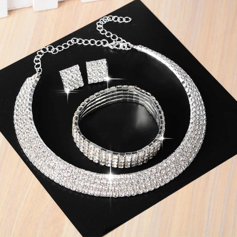Newest Wedding Australia Crystal Bridal Jewelry Sets for Women Silver Square Necklace Bracelet Earrings with Stones 11.11 Sale