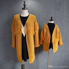 Kids Girls Knitted Tassels Cardigans Sweaters Yellow and Blue Color Family alike Fall Winter Outwears Clothing