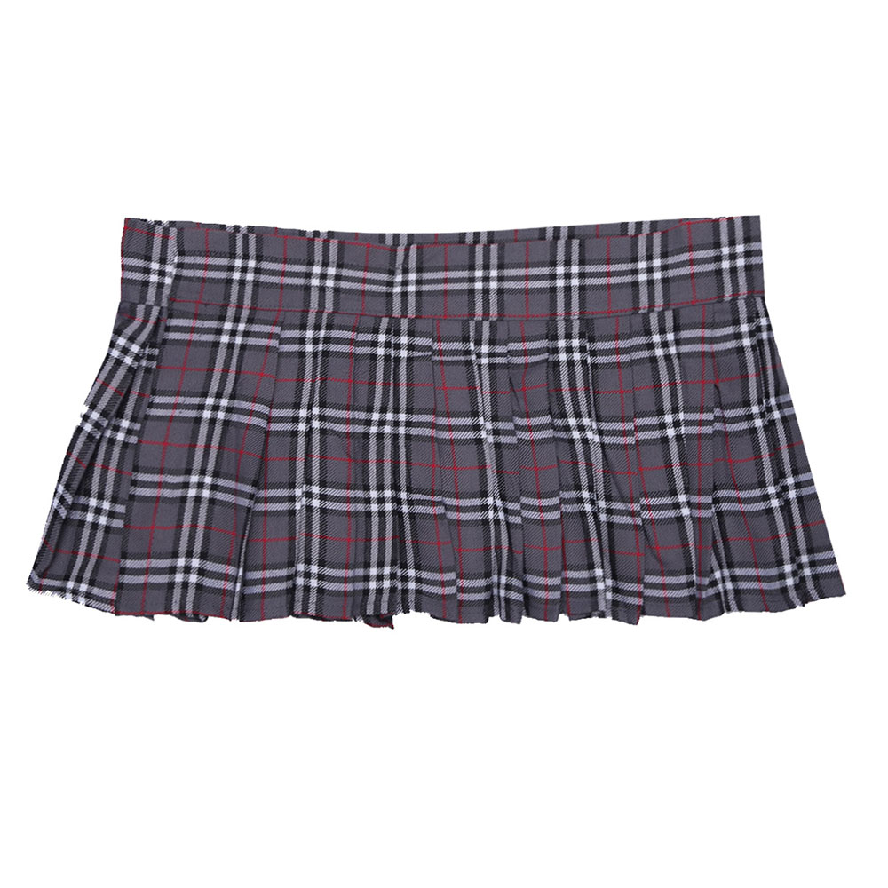 iEFiEL Brand Gray Women Mini Plaid Skirt Schoolgirl Role Play Skirt ...
