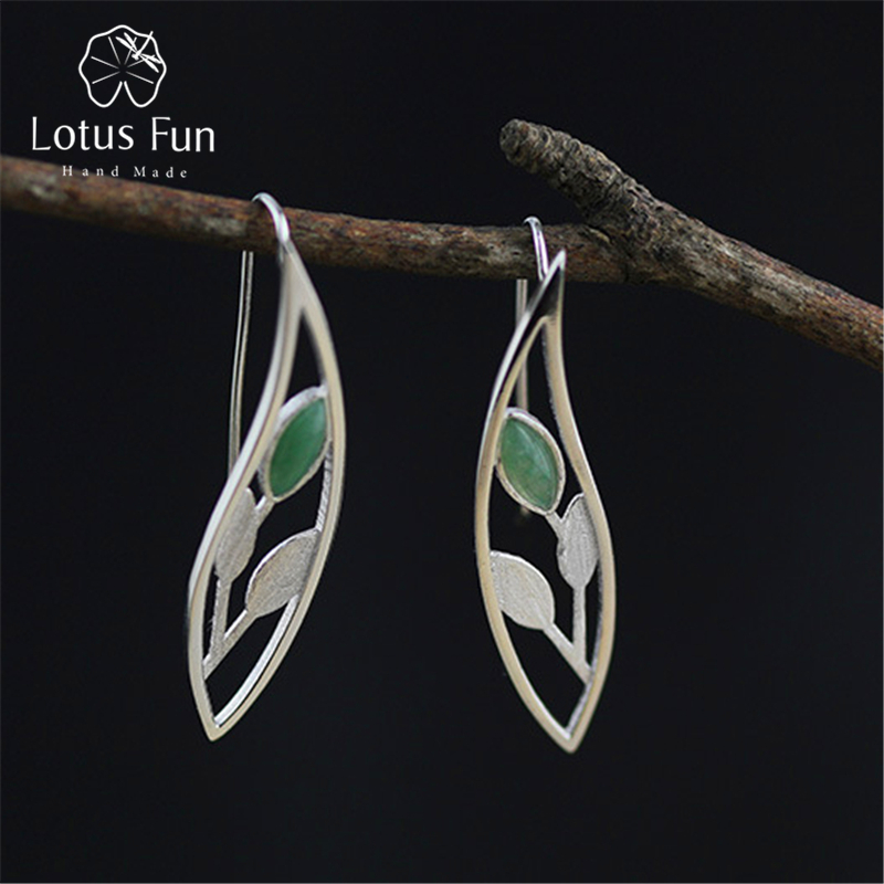 цена Lotus Fun Real 925 Sterling Silver Natural Original Handmade Fine Jewelry Spring in the Air Leaves Drop Earrings for Women онлайн в 2017 году