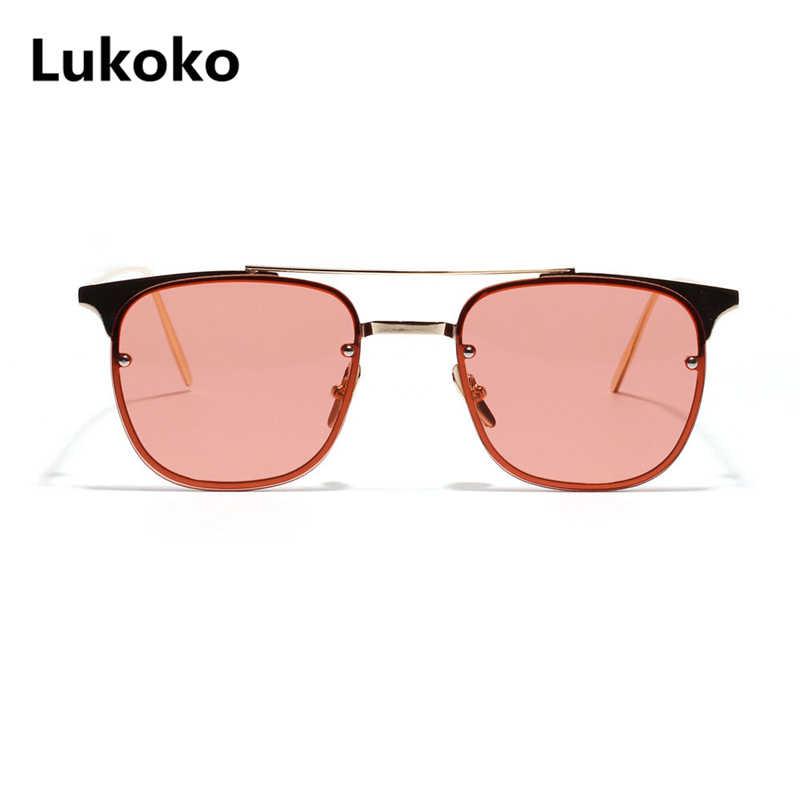 30430758356 Lukoko 2018 New Fashion Metal Square Ocean Color Sunglasses Women Men  Vintage Retro Eyeglasses Mirror