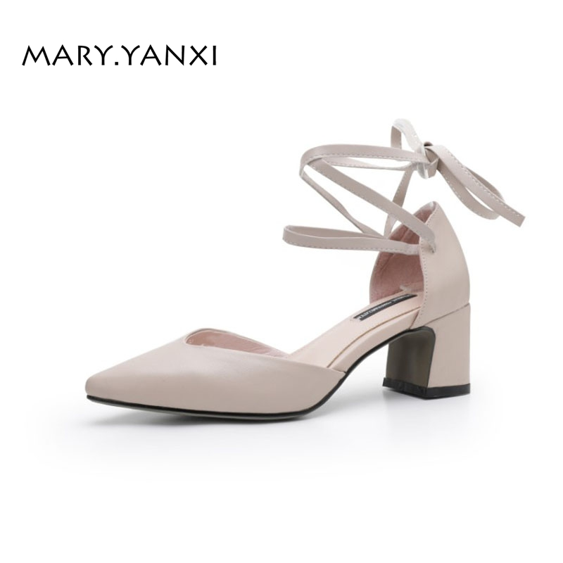 Women Pumps Shoes Mary Janes Genuine Leather Solid Lace-up High Thin Heels Pointed Toe Fashion Casual Party Sweet Shallow new spring fashion brand genuine leather sweet classic high heels women pumps shallow thick heel mary janes lady causal shoes