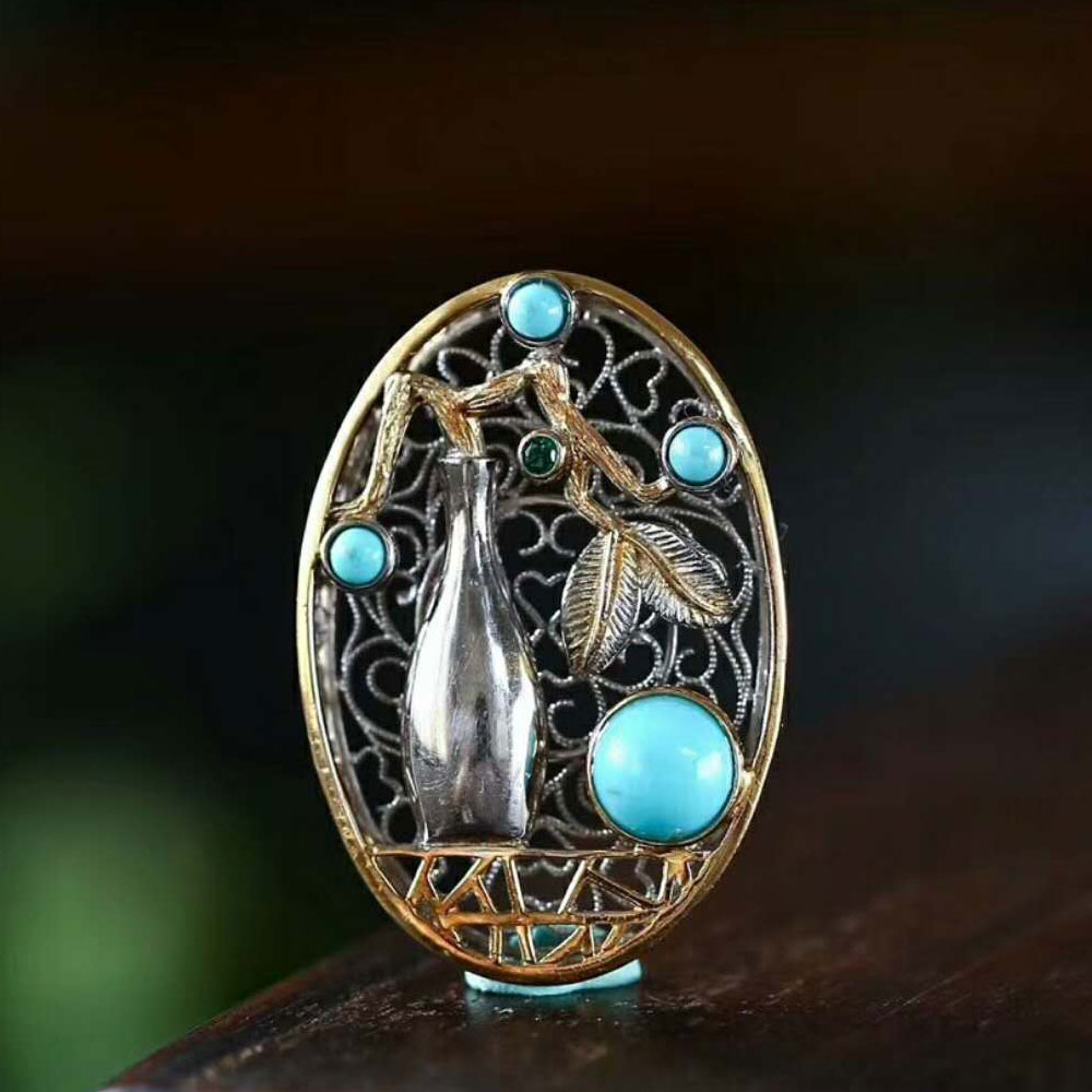 RADHORSE  Pendant 925 Sterling Silver  Fine Jewelry Turquoise Exquisite vase Modeling Fine Craftsmanship S925 Silver Pendants RADHORSE  Pendant 925 Sterling Silver  Fine Jewelry Turquoise Exquisite vase Modeling Fine Craftsmanship S925 Silver Pendants
