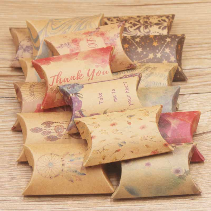10pc Good Luck Dreamcatcher  Jewelry Package Pillow Box Paper Marbel Candy Display Box Flower Design Gifts Pillow Package Box