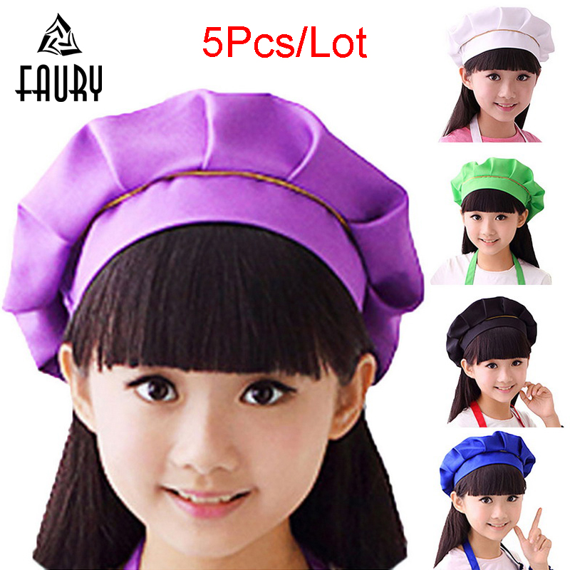 5Pcs/Lot Wholesale Kids Headwear Children's Chef Baking Hat Cute Girls Boys Kitchen Work Caps Solid Pleated Top Painting Hats