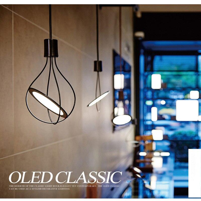 Modern Creative Restaurant OLED Pendant Light Livingroom Study Bedroom Cafe Bar Decoration Lamp 360-degree rotati Free Shipping