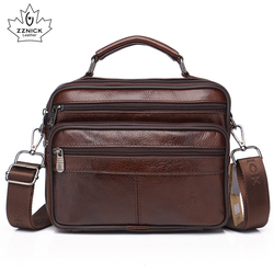 Vaca de couro genuíno sacos do mensageiro dos homens viagem negócios crossbody bolsa ombro para o homem moda satchels aleta saco sólido zznick