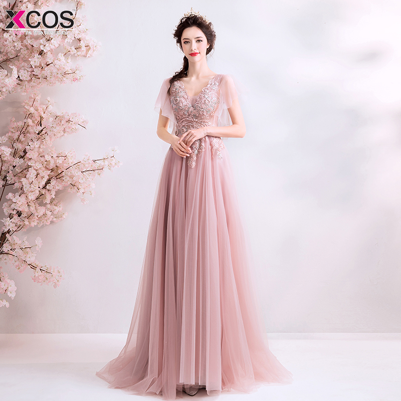 Long   Prom     Dresses   2019 Flower Appliques A-Line Floor-Length Vestido De Festa Women Elegant Sleeveless Banquet Party   Dress