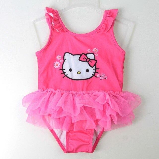 c6fbceb16f Little Girl Hello Kitty One Piece Swimwear Baby Cute Cartoon Designer  Swimsuit Beachwear Infant Toddler Lace Princess Bikini