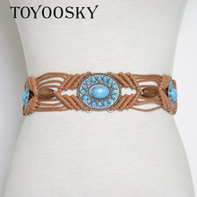 2018 New Arrival Ethnic Bohemia Fabric Hand Knitted Women Colorful Belts Leisure for Dress Wild Belt TOYOOSKY