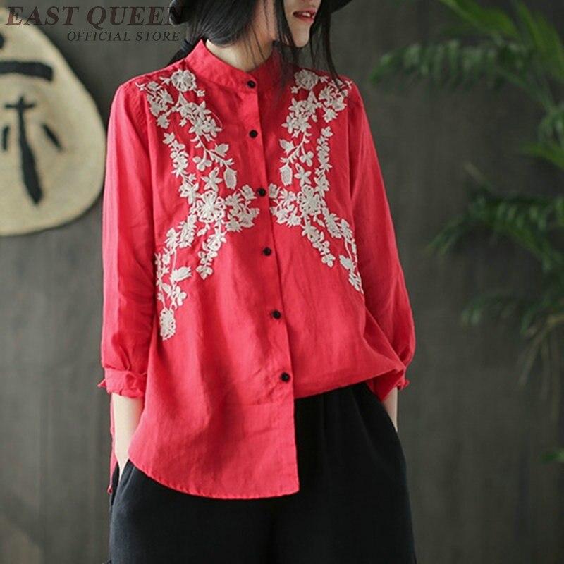 Femmes femmes vintage chemise hauts au printemps broderie floral neuf quart manches chemises femmes col montant haut élégant AA3423 F