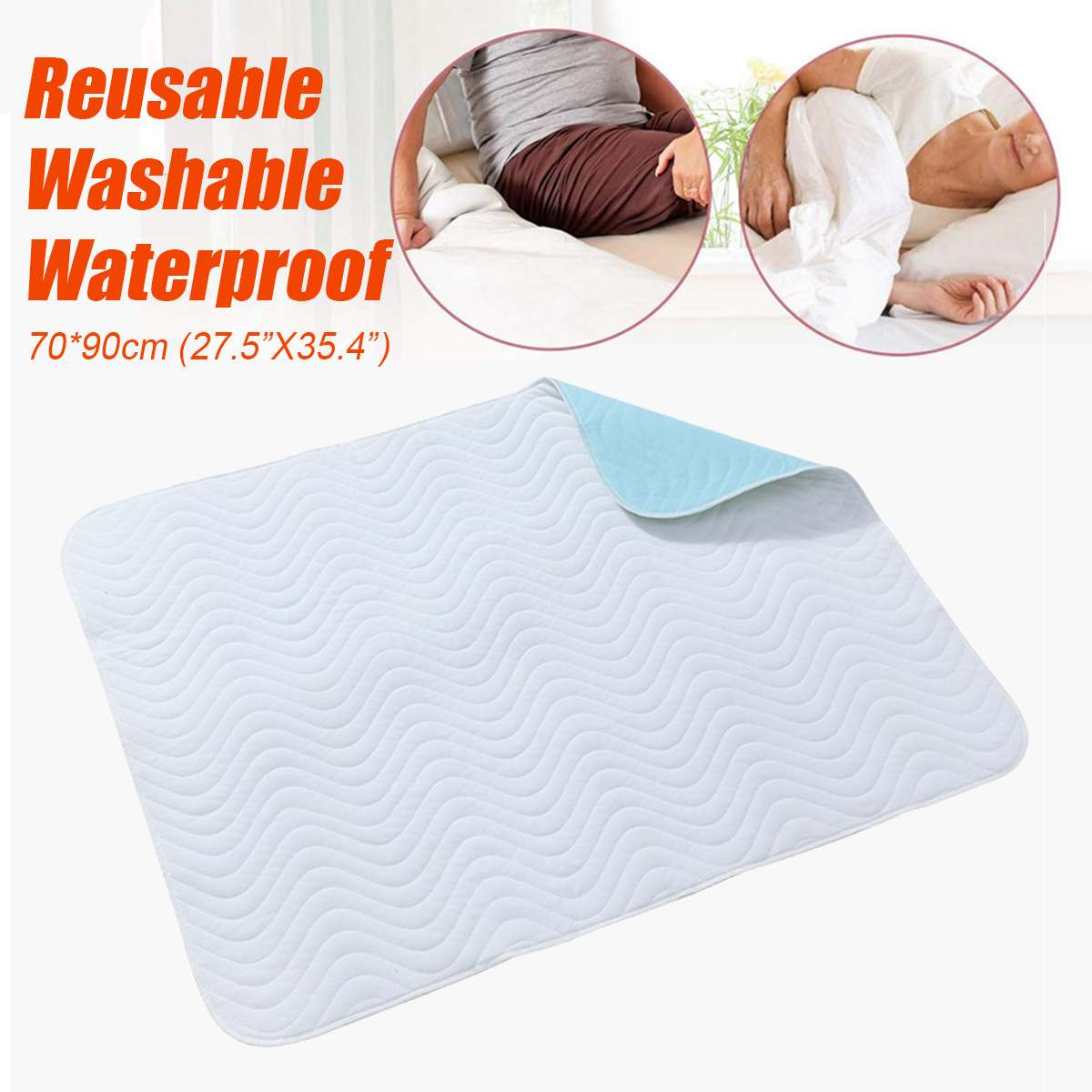 70*90cm Kids Adult Washable Reusable Protector Waterproof Underpad Bed Pad Polyester For Incontinence Patient Pad Cover Mattress image
