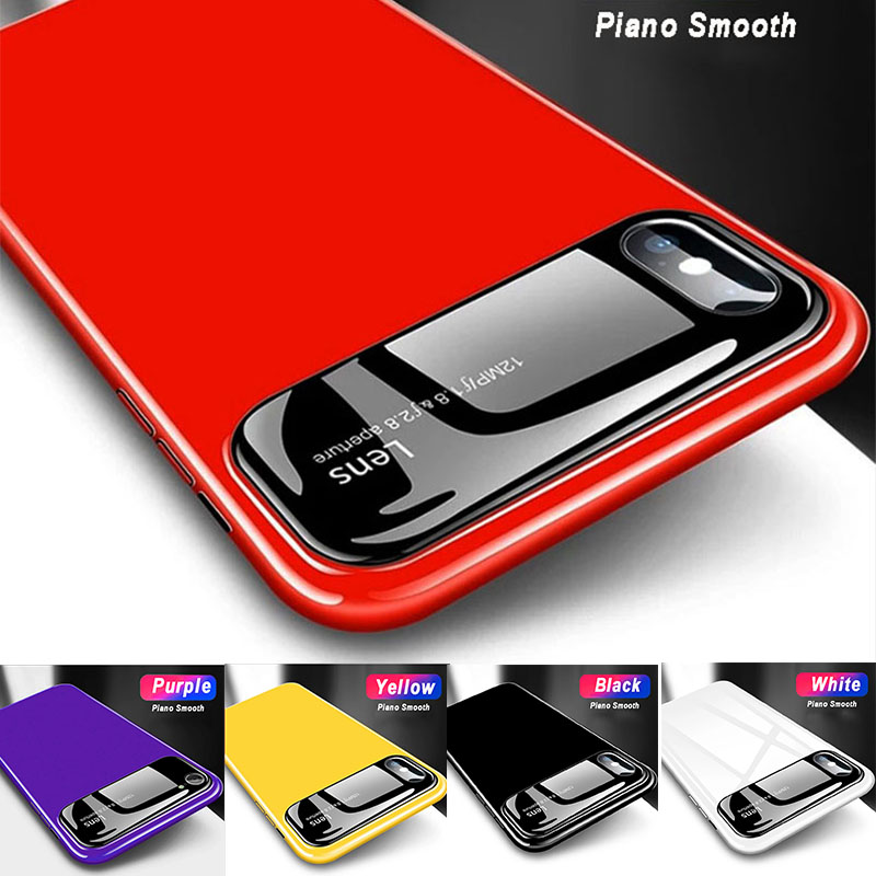 Smooth luxury Mirror Phone Case Piano lens Black glass head + UV mirror PC Shockproof Cases for iphone X 6 6S Plus 7 8 8 plus