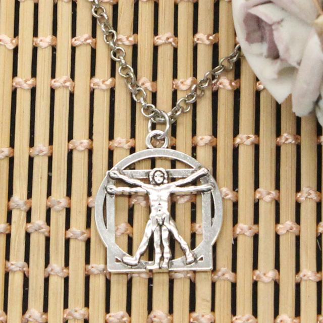 Nueva moda da Vinci figura humana Colgantes cadena cruzado redondo hombres largos cortos mujeres DIY regalo de plata de la joyería del collar