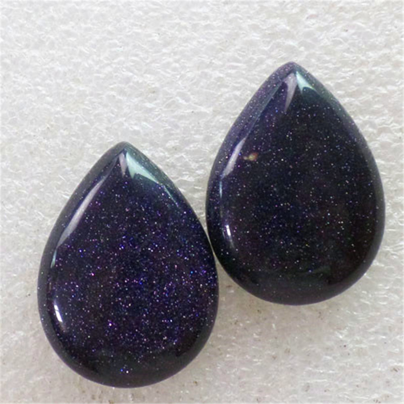 (2 pieces/lot) Wholesale Natural Blue Sand Stone Teardrop CAB Cabochon 30x22x6mm Free Shipping Fashion Jewelry C0000831