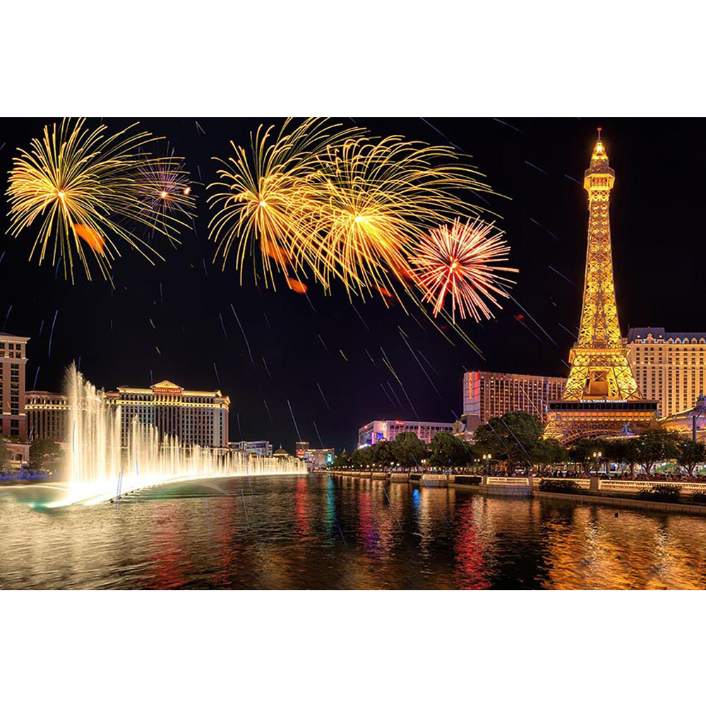 Night City View Eiffel Tower Backdrop Photography Colorful Fireworks Fountain Wedding Kids Party Themed Photo Booth Backgrounds
