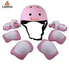 купить LANOVA 7Pcs/set Cycling Skating Skateboard Helmet Elbow Knee Pads Wrist Sport Children Bike Bicycle Roller Protect gear safety дешево