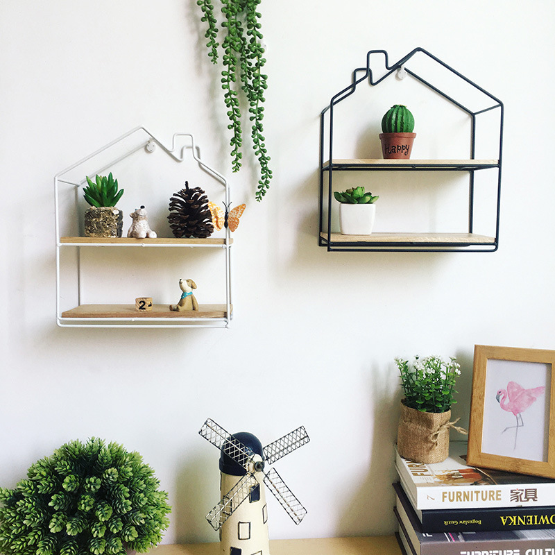 Wall Decoration Storage Shelf Vintage Metal Iron Sundries Storage Rack Decorative Wall Shelves Organizador Flower Pot Holder Полка