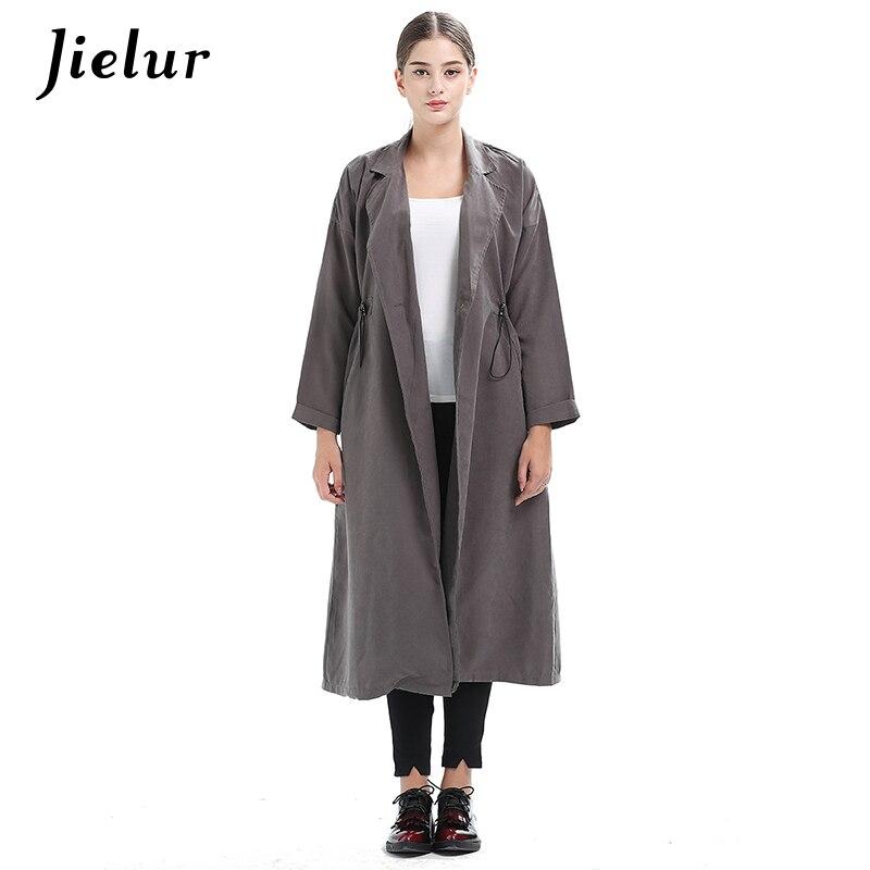 Jielur Europe Chic Solid Color Long Sleeve Windbreaker Single Button Pocket Gray Black Coat Women High Street Lady Trench Coats