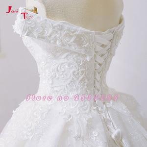 Image 5 - Jark Tozr New Arrive Off The Shoulder Short Sleeve Gorgeous Princess Ball Gown Wedding Dresses Vestidos De Noiva Princesa