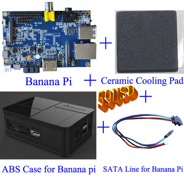 "Original Banana Pi+SIC Ceramic Banana Pi heat sink+SATA Cable for 2.5"" HDD+Black Plastic ABS Banana Pi Case"