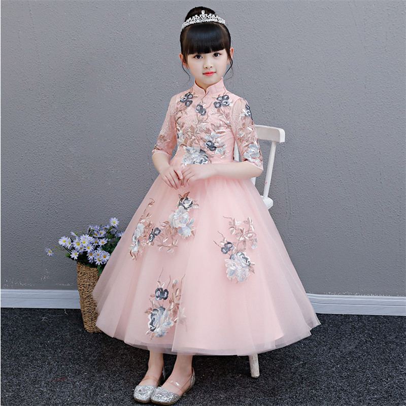 b740c2f183214 2019 New Luxury Embroidery Flowers Children Girls Birthday Wedding Party  Princess Lace Dress Kids Teens Piano Host Prom Dress
