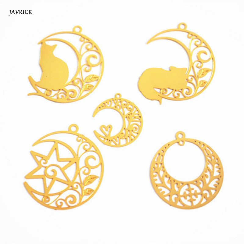 DIY Filler Epoxy Resin Mold Craft Decoration Gold Moon Cat Floral Hollow Filling Jewelry Making Necklace Pendant Accessories