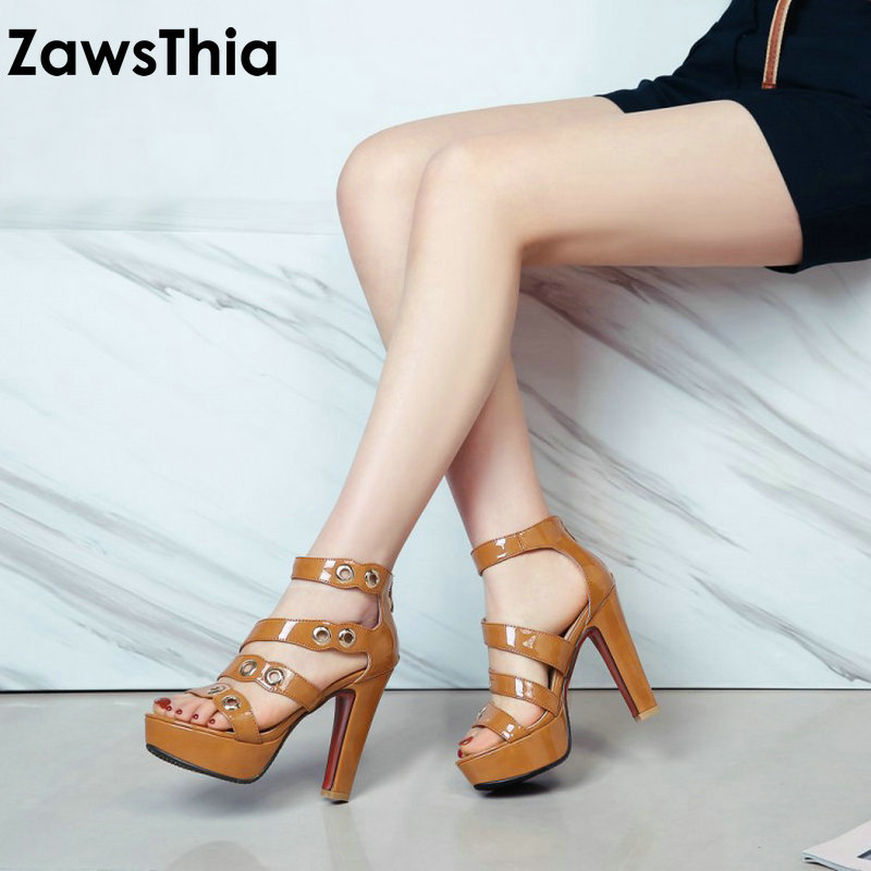ZawsThia 2018 Summer Sexy Rome Cover Heel Women's Shoes Platform Spike High Heels Woman Gladiator Sandals Plus Size 42 43 44 11 phyanic 2017 gladiator sandals gold silver shoes woman summer platform wedges glitters creepers casual women shoes phy3323