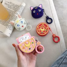 GOOYIYO - For Airpods 1 2 Cartoon Silicone Case Sailor Moon Lunar Cat Earphone Charge Box Soft Cover Airpods Accessory Gift Hook(China)