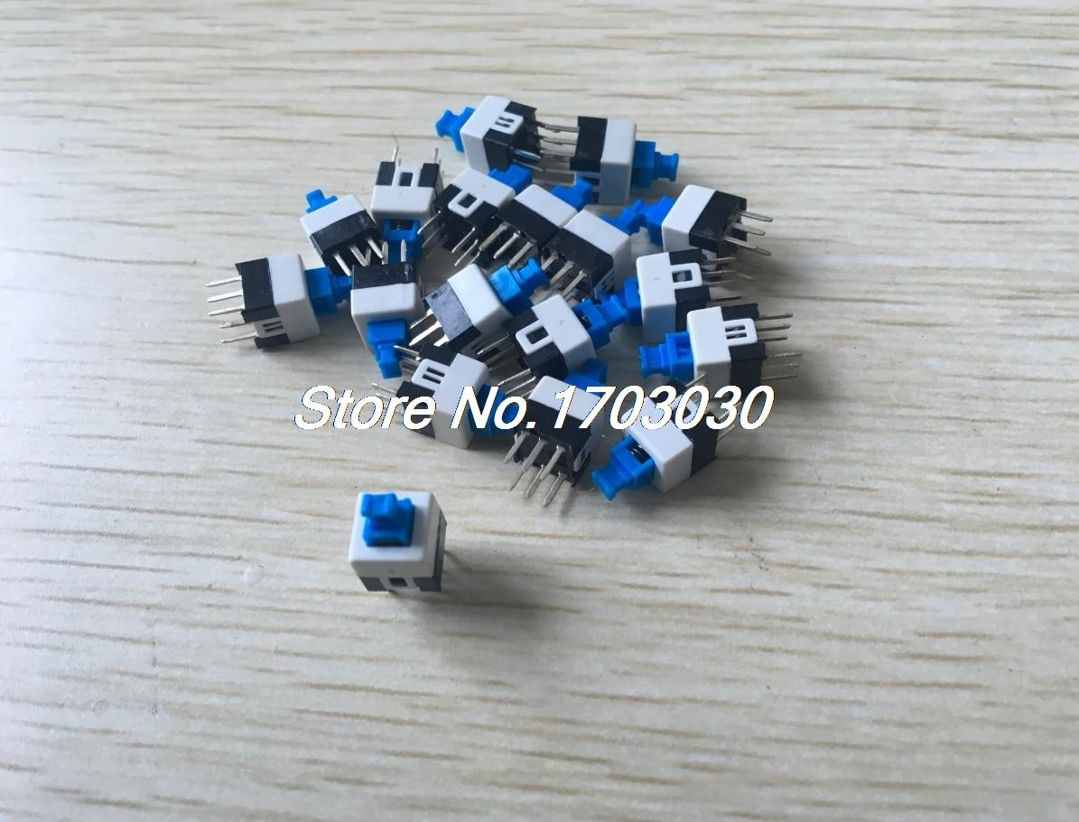 100 Pcs 6 Pin Square 7mmx7mm Latching DPDT Mini Push Button Switch 1 x 16mm od led ring illuminated latching push button switch 2no 2nc