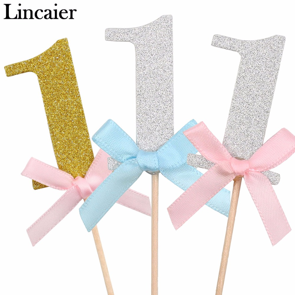 Lincaier 10Pcs First Birthday Cake Cupcake Topper 1st Party Decorations Baby Boy Girl I AM ONE Year Gold 1 Anniversary Supplies
