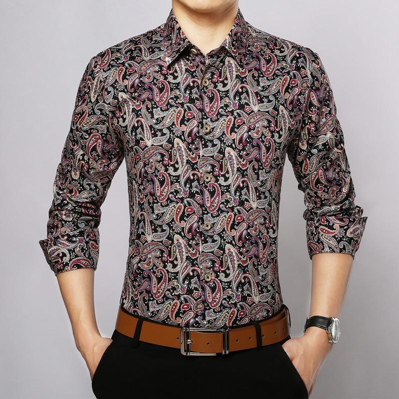 Mens Floral Print Dress Shirts