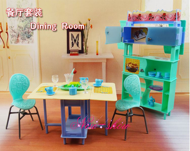 Dining Table Showcase Chair Set Pretend Play Dollhouse Room Furniture Accessories Decoration For Barbie