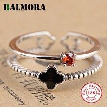 Balmora 925 negro trébol abierta anillos para las Mujeres Partido regalo rojo ZIRCON plata moda anillos SY21622