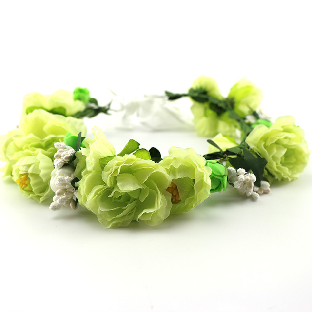 Light Green Foam Roses Ribbon Band Flores Artificial Crown For Women S Bride Trip Party Gifts Flower Head Wreath