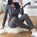 Preself buzos sexy hollow encaje tejido de punto acanalado manga larga mamelucos otoño invierno las mujeres de color gris cálido moda playsuit pantalones