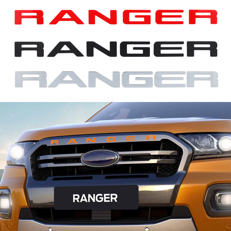 For Ford Ranger 2015-2019 Grille Top Logo Letter Grill RANGER 3D Emblem Original Size ABS Sticker With Glue Chromium Styling