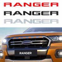 Para Ford Ranger 2015-2019 rejilla logotipo superior de la parrilla de letras RANGER 3D emblema tamaño Original ABS pegatina con pegamento cromo estilo