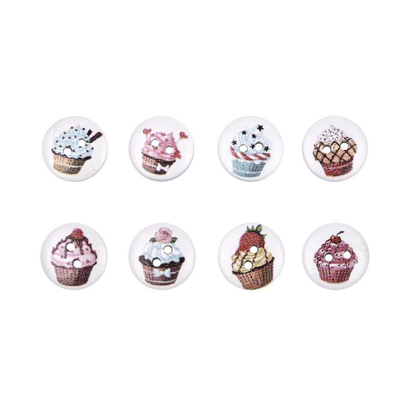 50 шт., новые круглые деревянные пуговицы с цветочным принтом, 2 отверстия, 15 мм, разные цвета, для шитья, деревянные пуговицы, аксессуары для украшения одежды, сделай сам - Цвет: A-16