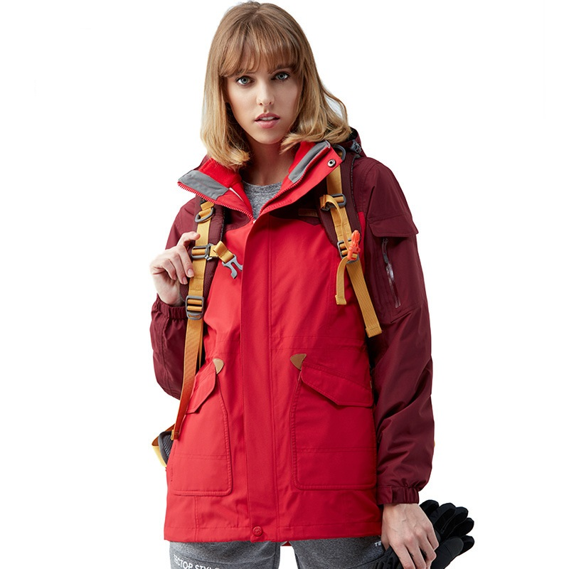 New Tectop Outdoor Women Winter 3 in 1 Hiking Jackets Female Thermal Polar Fleece Inner Two-piece Coats For Skiing Hiking S-3XL 2017 new couple outdoor sports jackets men s three in one excursions hiking hooded women s two piece ski clothes fishing hunting