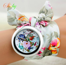 shsby 2015 floral chiffon sweet girls watch Sweet chiffon fabric women dress watches fashion quartz  female ladies gift