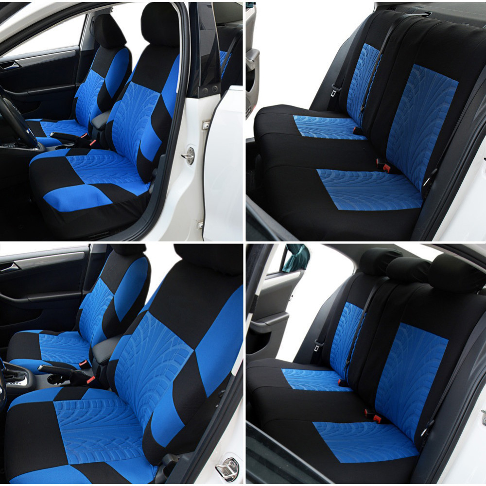 Racing Car Seat Covers Tire Track Universal Fit Front Rear Seat ...
