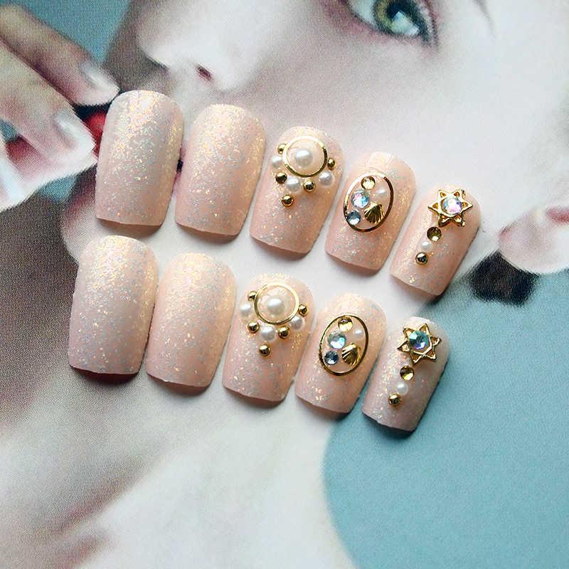 Elegant 24pcs Set Flesh Color Black French Glitter Finished False Nails Middle Long Size Lady Full Nail Tips Patch Art Tool
