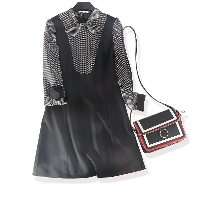 Genou Arrivée Samgpilee ligne Mode Casual Femmes Robe 3x Pleine longueur Black L Nouvelle 2018 Arc Patchwork Manches red Naturel Hiver A Appliques I2ED9H