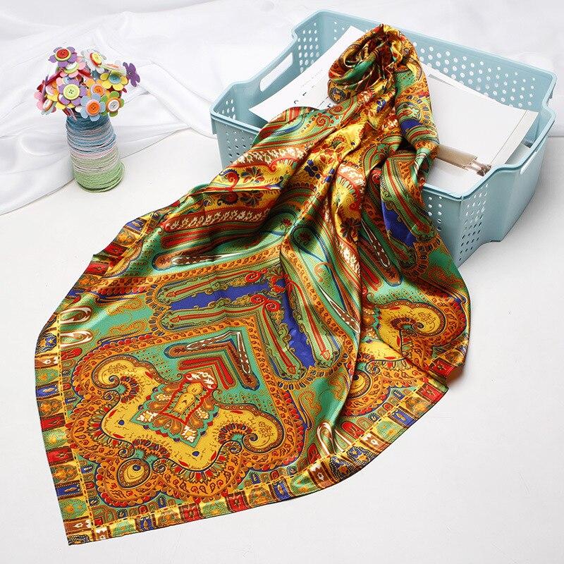 Модный шарф для волос женская Косынка шелковые шарфы с принтом Новый хиджаб шарфы 90 см квадратные шали шарфы для женщин 2019 dorpshipping