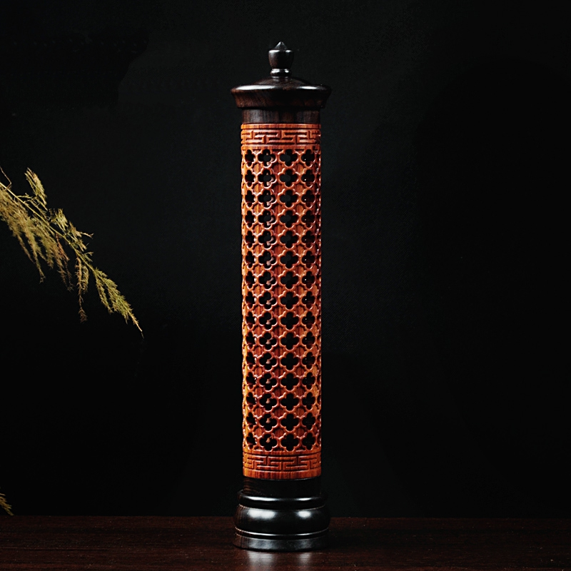 PINNY Grilles Vertical Hollow Sinking Sandalwood Incense Furnace Incense Holder Wood Burner Burners Buddhist Supplies