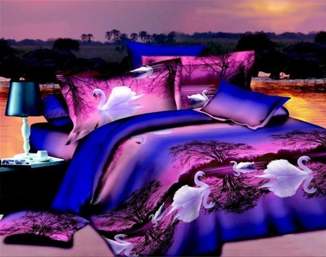 3dパープル白鳥寝具セットクイーンサイズフルダブルキルト布団カバーベッドシートリネンベッド
