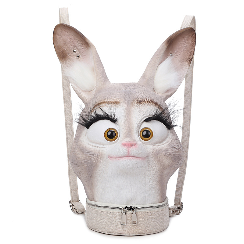 Fashion Personality 3D Solid lifelike Rabbit Head Bunny Animal backpack Halloween Cool T ...
